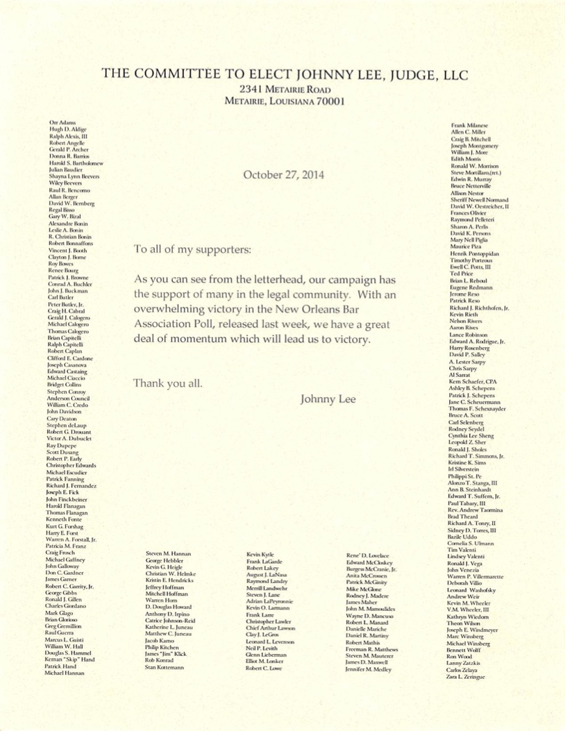 letter to supporters